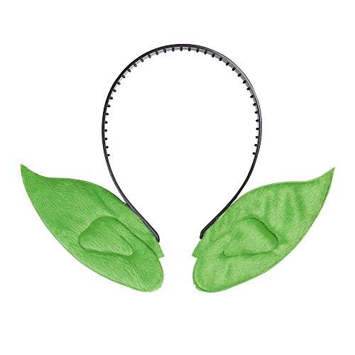 Widmann 8005A, Haarreif mit grünen Spitzohren für Hexe, Kobold, Magier, Zauberer, für Kinder bis Erwachsene geeignet