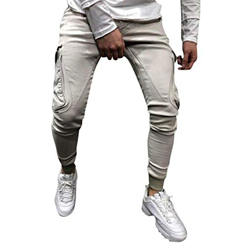 Damen Nadelstreifen Gewebt Shirt (UJUNAOR Herren Cargo Hose Casual Einfarbig Tasche Tunnelzug Sport Jogginghose Bundle Fuß Hosen(X-Large,Beige))