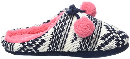Totes Chunky Knit Mule Slippers, Pantofole Donna Multicolore (Navy/coral Fairisle)