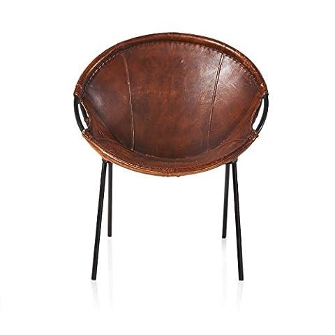 IMPRESSIONEN living Stuhl - Industial Loft Style - Leder Metall - Braun - Industrial-Look - Ziegenleder, Metall