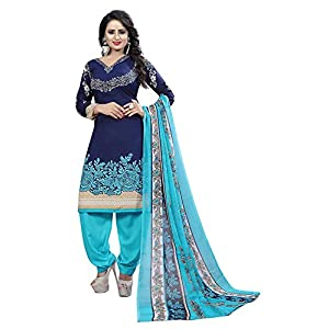 TASHVI CREATION Women's Faux Crepe Printed Salwar Suit (TC_0609, Blue, Free Size)