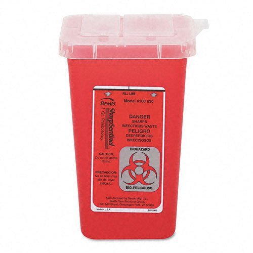 'Impact 7350 Translucent Red Sharps Container, 1 QT Capacity, lunghezza 4 - 1/2