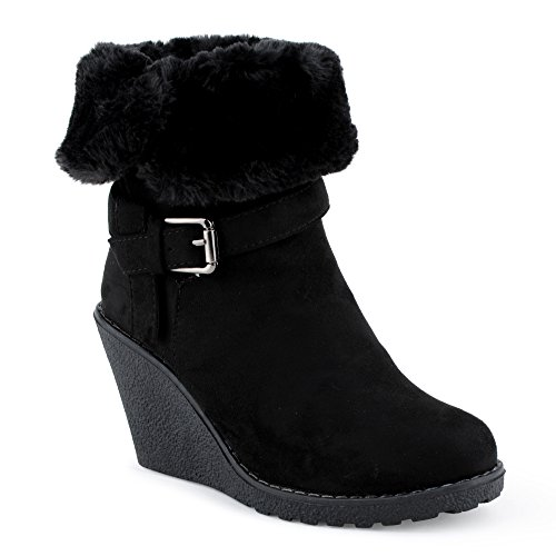 Damen Schlupf Herbst Winter Keil-Absatz Stiefel Stiefeletten Velours-Optik Kunstfell Warm Gefüttert Schnalle Boots Schuhe Schwarz
