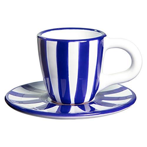 City to Cottage | Tasse et sous tasse à café | à rayures bleu marine et blanches en céramique faite et peinte à la main | 60ml
