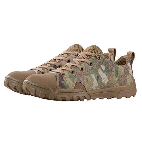 FREE SOLDIER Herren Stiefeletten Tactical Arbeit Stiefel Leicht Atmungsaktiv Military Stiefel Mid und Low Camo Combat Stiefel, Herren, Camo (Low Boots), UK5.5