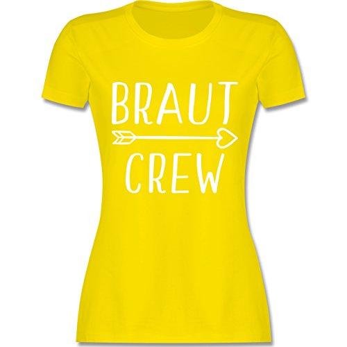 JGA Junggesellinnenabschied - Braut Crew Pfeile - XXL - Lemon Gelb - L191 - Damen T-Shirt Rundhals (Pfeil Shorts Baumwolle)