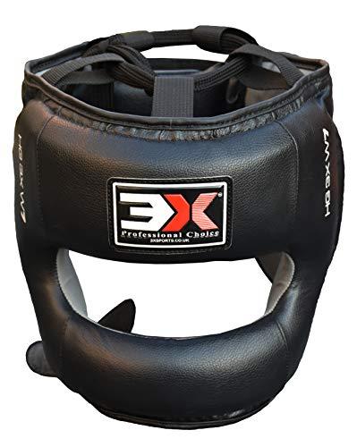 Professional Choice Headguard Rindsleder (und Musashi-Serie Liani Leder) Boxen Krav MAGA MMA Protector Head Guard Fighting Headgear Sparring Helm (Schwarz, S/M) -