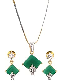 Geode Delight Green Stone Gold Plated American Diamond Pendant Set For Women & Girls