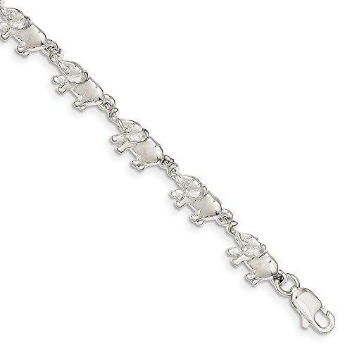 Broche de plata de ley pulsera de elefantes - 17,78 cm -...