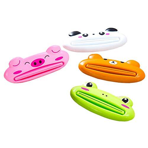 4 Unze Zahnpasta (Aolvo Zahnpasta Tube Squeezer, 4 Pack Cute Design Cartoon Tier Zahnpasta Creme Squeezer Roll Zahnpastaspender Zahnpasta Halter für Kinder und Erwachsene)
