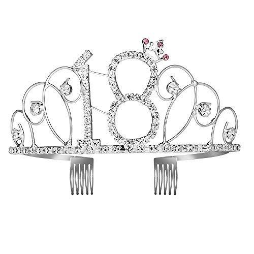 Iwilcs - tiara e fascia per 18° compleanno, con strass, corona e pettini, accessorio per festa di compleanno con cristalli argentati