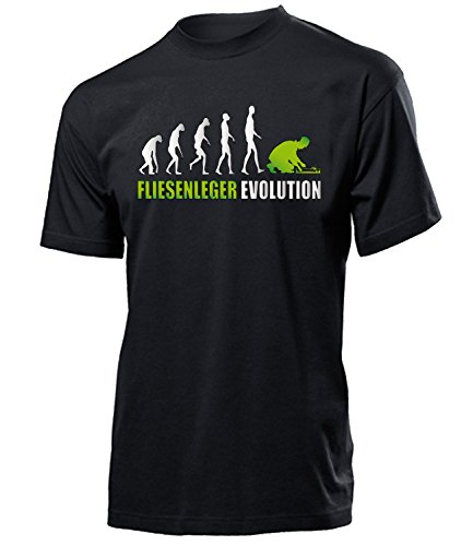 love-all-my-shirts Fliesenleger Evolution 4610 Herren T-Shirt (H-SW-Weiss-Grün) Gr. XL