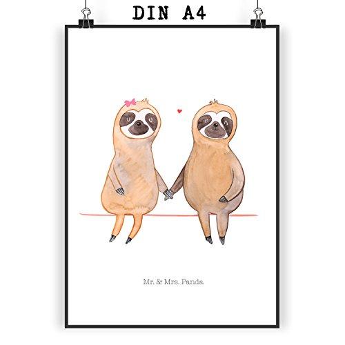 Mr. & Mrs. Panda Geschenk, Bild, Poster Din A4 Faultier Pärchen – Farbe Weiß