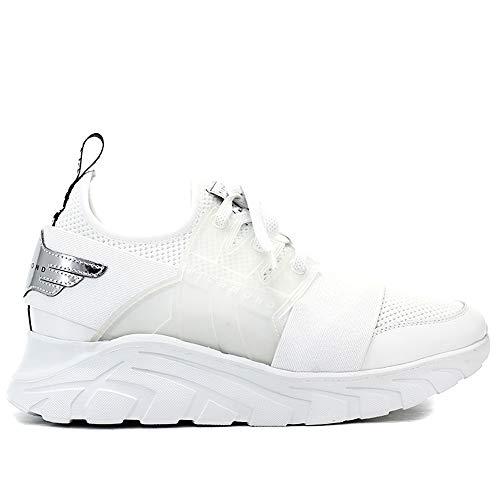 John Richmond 7003 A Herren-Sneaker aus weißem Leder und Stoff mit Logo, Weiß - Bianco - Größe: 43 EU
