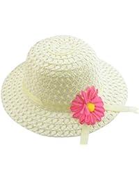 Hosaire Sombrero de Paja de Ala Ancha Verano Gorra Sombrero Anti UV Solar  para Viaje Playa para Bebé Niñas Niños(Accesorios color de la… e84fb2f82cf