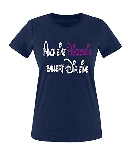 Luckja Auch eine Prinzessin ballert dir eine Damen Rundhals T-Shirt Navy/Weiss/Violett