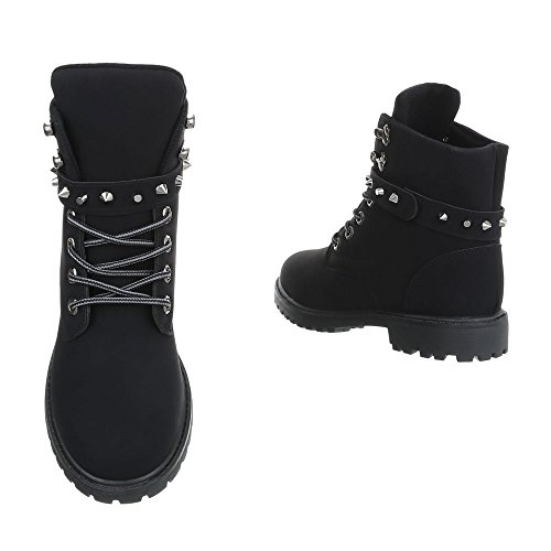 Chaussures Pour Femmes Bottines À Talon Carré Bottines Avec Dentelle Ital-design Noir