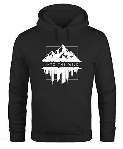 Neverless Hoodie Herren Into The Wild Berge Skyline Kapuzen-Pullover Männer schwarz L