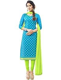 Women'S Light Blue Semi Stitched Embroidered Cotton Dress Material JNXANMK1010