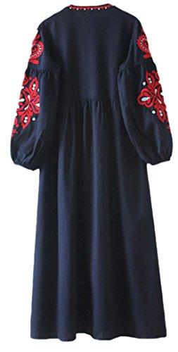 erdbeerloft - Damen Langarm Kleid mit gesticktem Muster, Viele Farben Blau
