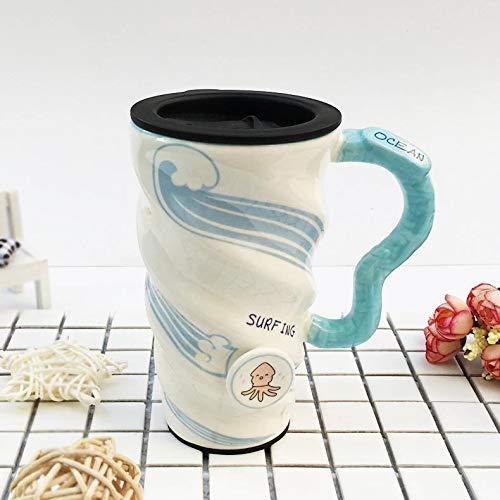 e Becher mit Deckel und Löffel Stroh kleine klare Ozean Cartoon große Kapazität Kaffee Milch Spirale Tasse, Krake Abdeckung ()