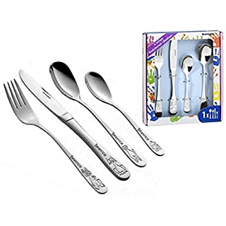aplusashop ID Children's Cutlery Set with Engraving as Required 4 Pieces Stainless Steel with Box 3 Varaints Silver