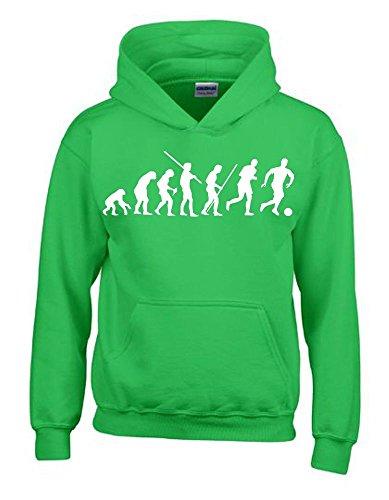 Kinder Sweatshirt Mit Kapuze (FUSSBALL Evolution Kinder Sweatshirt mit Kapuze HOODIE green-weiss, Gr.128cm)
