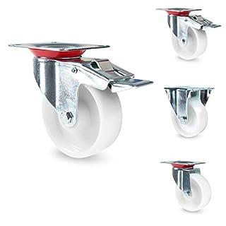 PRIOstahl® Transportrolle weiss PP   75mm 100mm 125mm   50-100KG   Fest & drehbar   Schwerlastrollen   Lenkrolle+Bremse 100mm