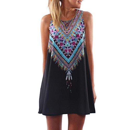 Vovotrade La señora de las mujeres Vestido de verano casual Maxi mini vestido de fiesta noche de impresion (Tamaño L, Negro)
