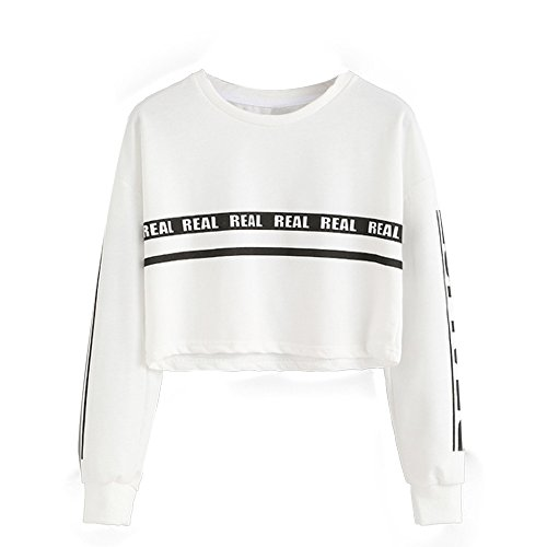 WINWINTOM Lettera Donne Stampa Crop Bianco Felpa Camicetta Superiore (Gonna Floreale Top)