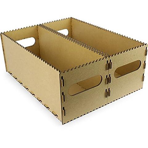 Motorize - Kisten aus Holz (MDF, vintage) kleine und große, steck-stapel-bar, zur Aufbewahrung, ohne Deckel, nicht wasserdicht - 2xE (168mm x 432mm x 168mm) Doppelpack