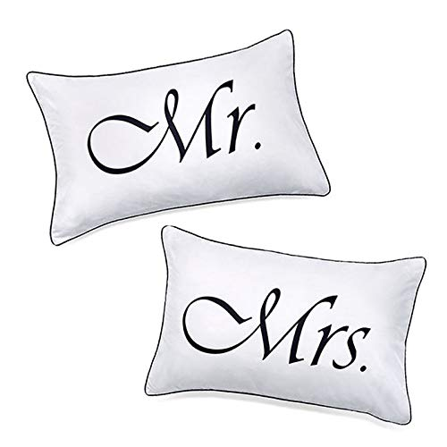 Mr e mrs pillow cases, his and hers coppie federe, bridal shower, matrimonio, anniversario, v-day, natale, romantic gift idea, his e hers gifts for him, her, couples