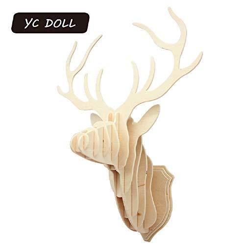 YC DOLL 3D-Holz Rätsel Wanddekoration Tier Skulptur Ornament Wand Kunst Dekor, Kinderspielzeug, Pädagogisches Spielzeug, Kreative Ornamente, Holz-Craft-Kit, (Elch Hirschkopf)