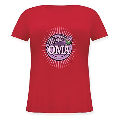Oma - Flotte Oma - Lockeres Damen-Shirt in großen Größen mit Rundhalsausschnitt Rot