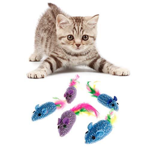YFairy Katzenspielzeug - 5 Stück Katzenspielzeug Kätzchen Simulierte Maus Feder Ausgestopft Falsche Maus Spielen Lustig Interaktiv Bunt Haustierzubehör
