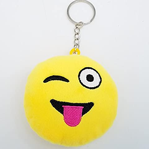 2 Inch Mini Wink Emoji Keychain Keyring - Yellow GN Pack of 10 Enterprises