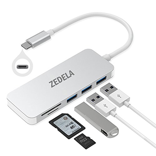 "zedela USB C HUB, Typ c Adapter mit 3 Superspeed USB 3.0 Ports, 2 SD/TF Kartenleser Ports für Type-C Computer und Tablets wie MacBook 12"" 2015/2016/2017, MacBook Pro 2016, Google Chromebook (Silber)"