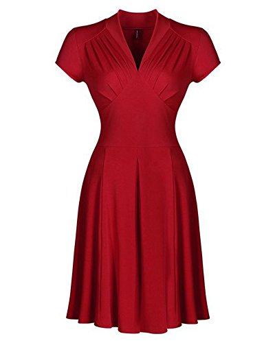 Elegante 50er Damen V-Ausschnitt Swing Kleider Festliche Cocktailkleid Abendkleid Rot