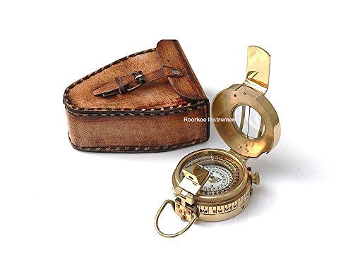 Massivem Messing prizmatic Kompass mit Leder Tragetasche - Glas Runden Podest
