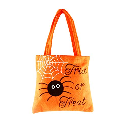 Treestar Halloween Goody Bag Candy Sweet Hand Bag Leere Geschenk Tote Bag Orange Schwarz Stoff Container für Candy Buffet Party Dekoration, Stoff, Orange, 20 * 18.5CM (Orange Candy Buffet)