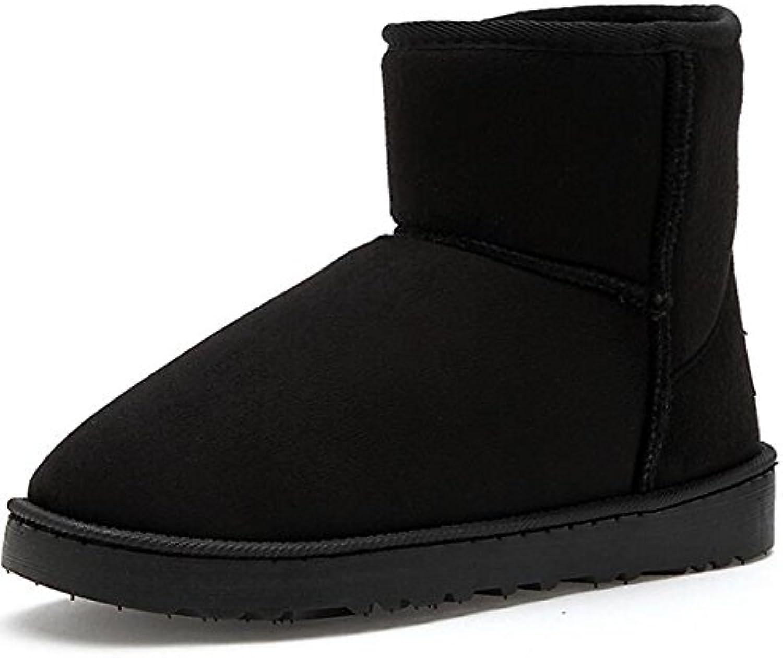 HSXZ - Zapatos de mujer de piel de nobuk con forro de goma para invierno, botas de nieve, botas medianas, botas...