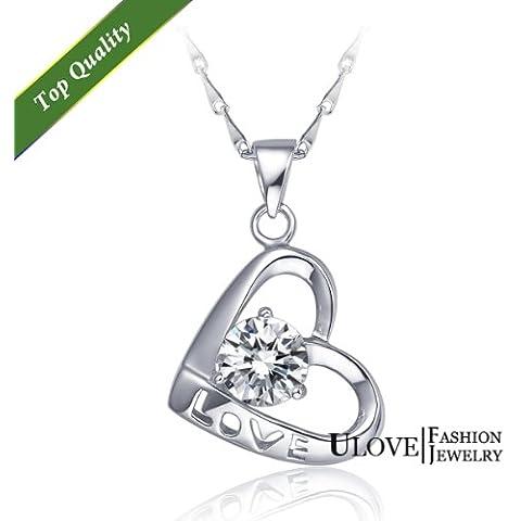 Giorno regalo di modo collane Ulove N261 Wynce (TM) del cuore di amore collane micro della CZ collane romantiche argento 925 di San