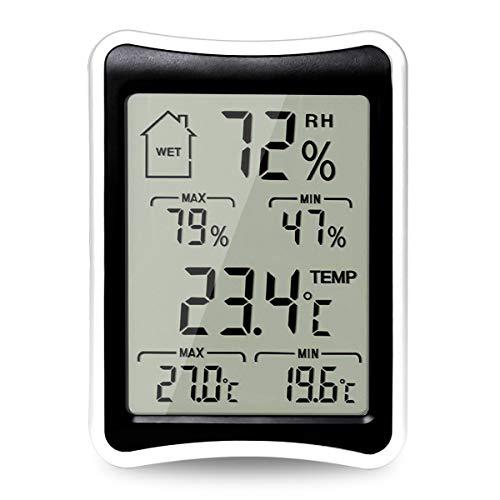 BODECIN Digitales Thermometer Hygrometer, Präziser Innen Temperatur und Luftfeuchtigkeit Monitor, Raumthermometer mit Großer LCD-Anzeige, Komfortanzeigen, ℃/°F Schalter für Zuhause, Büro - Digital-wand-schalter Timer
