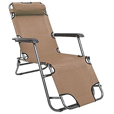 AMANKA Campingstuhl Liegestuhl Freizeitliege Sonnenliege Strandliege Campingliege Klappliege Liege 153cm Beige von Omnideal auf Gartenmöbel von Du und Dein Garten