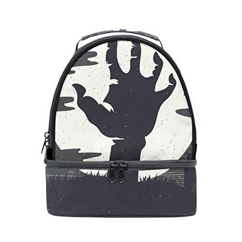 folpply Halloween Zombie Hand Lunch Bag Isolierte Kühler Tote Box mit verstellbarem Schultergurt für pincnic Schule