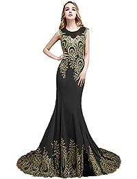 657bbdd1c Beauty-Emily Corte Sirena sin mangas Transparente del barrido del tizón del  vestido Encaje vestido