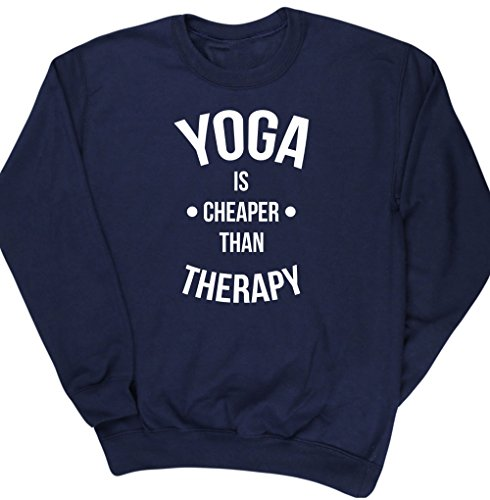 hippowarehouse-yoga-is-cheaper-than-therapy-unisex-jumper-sweatshirt-pullover
