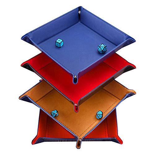 Magiin 4 pz Dadi Vassoio Rotante PU Pelle Dadi Supporto Vassoio Pieghevole Adatto per Giochi Dadi da Tavolo Conservazione 4 Colori