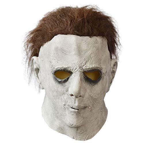 YWJ Halloween Horror Maske Movie Killer Maske Weiß Erwachsene Vollkopf Latex Maske Cosplay Kostüm Requisiten Spielzeug,1 (Halloween-kostüme Horror Movie)