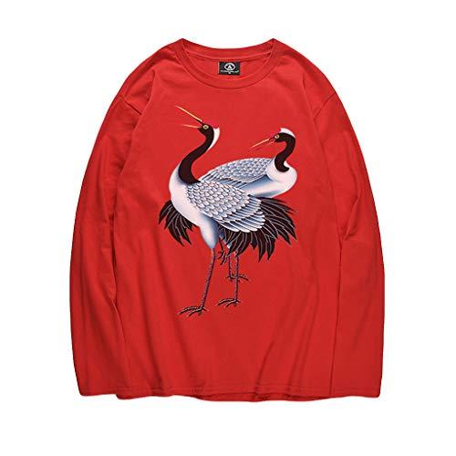 (UJUNAOR Frühling Langärmliges Oberteil für Männer Lässig Tierdruck T-Shirt Bluse(Rot,CN XL))
